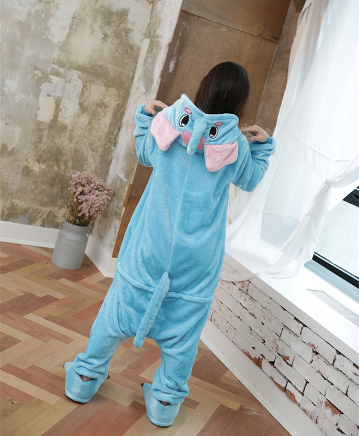 Elephant Onesies Pajamas Unisex Flannel Kigurumi Onesies Winter Animal Pajamas For Adults