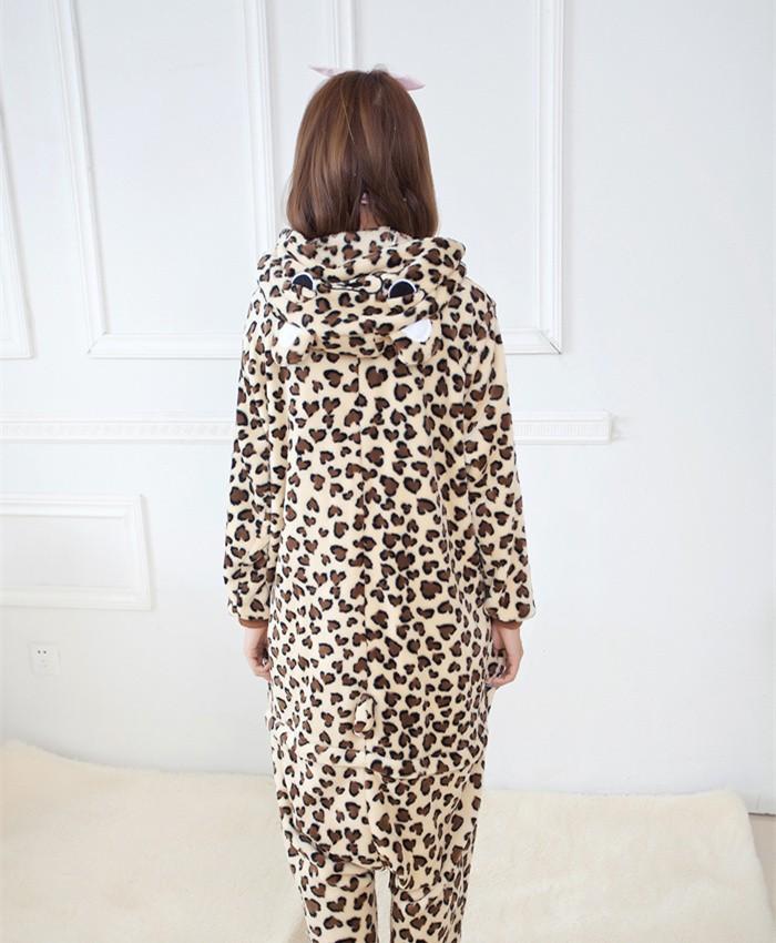 Leopard Print Onesies Pajamas Unisex Flannel Kigurumi Onesies Winter Animal Pajamas For Adults
