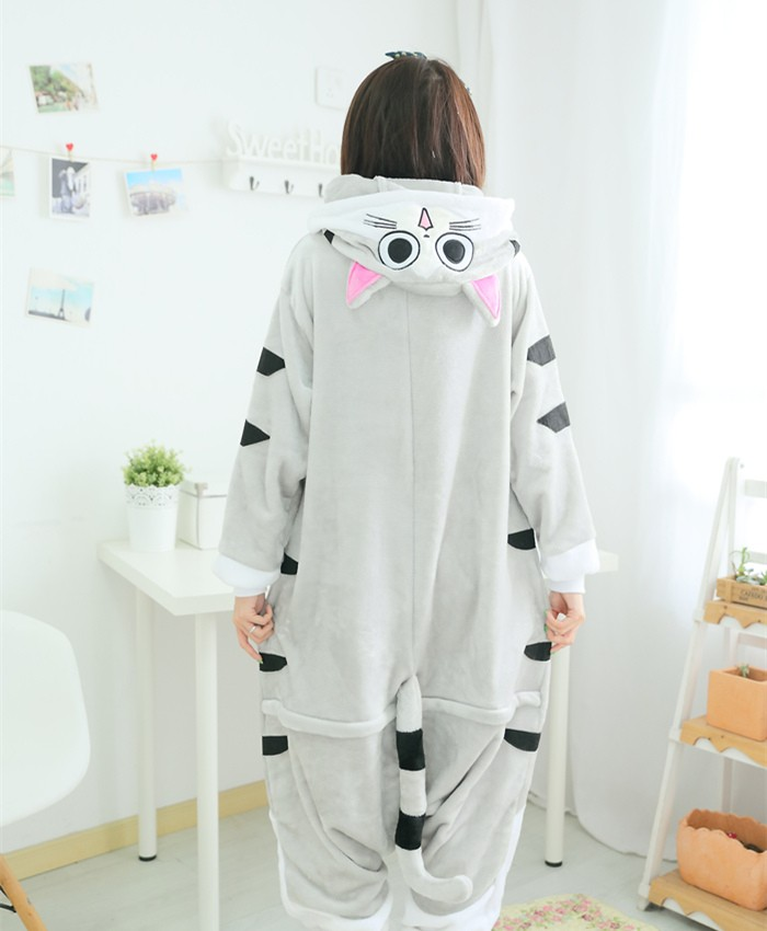 Cat Onesies Pajamas Unisex Flannel Kigurumi Onesies Winter Animal Pajamas For Adults