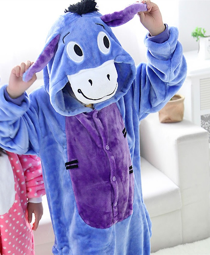 Donkey Onesies Pajamas Flannel Children Kigurumi Onesies Winter Animal Pajamas For Kids