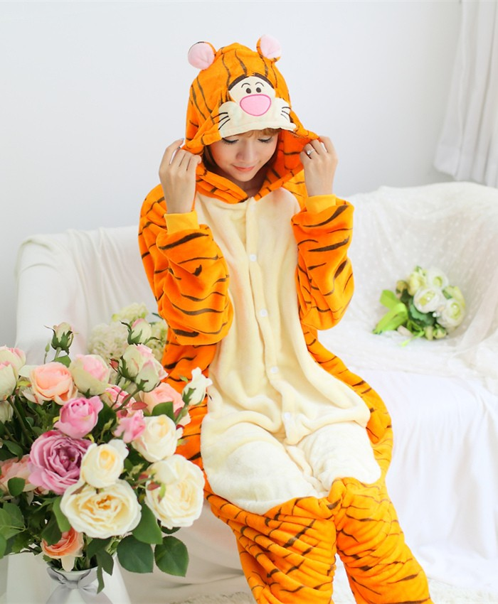 Tiger Onesies Pajamas Unisex Flannel Kigurumi Onesies Winter Animal Pajamas For Adults