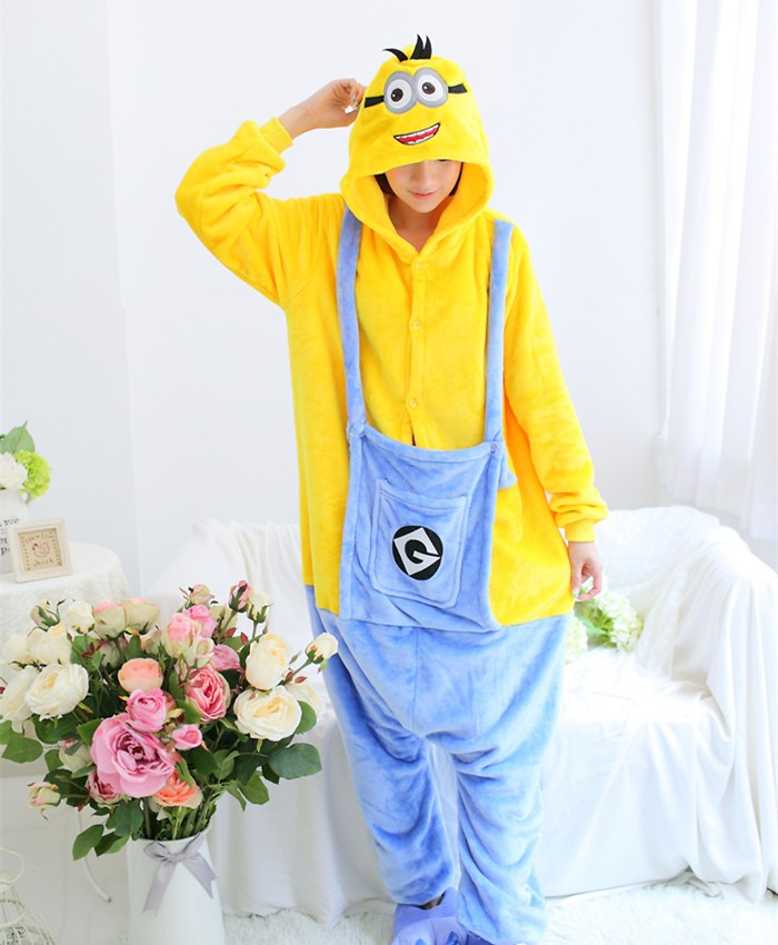Minions Onesies Pajamas Unisex Flannel Kigurumi Onesies Winter Animal Pajamas For Adults