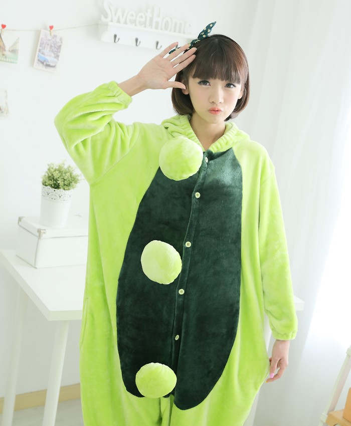 Peas Onesies Pajamas Unisex Flannel Kigurumi Onesies Winter Animal Pajamas For Adults