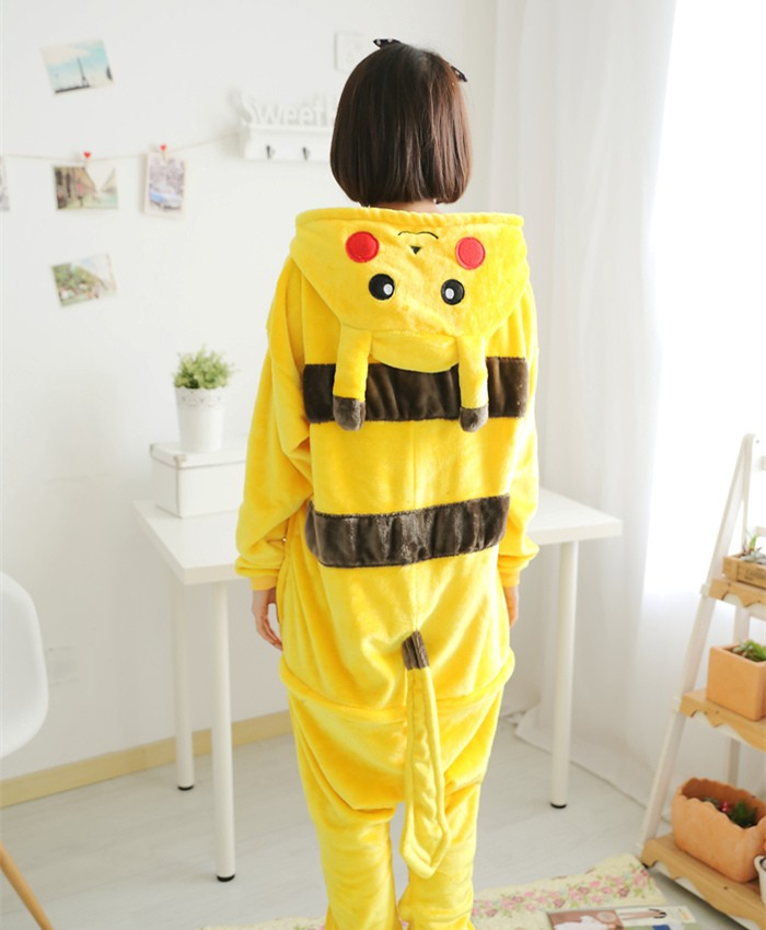 Pokemon Pikachu Onesies Pajamas Unisex Flannel Kigurumi Onesies Winter Animal Pajamas For Adults