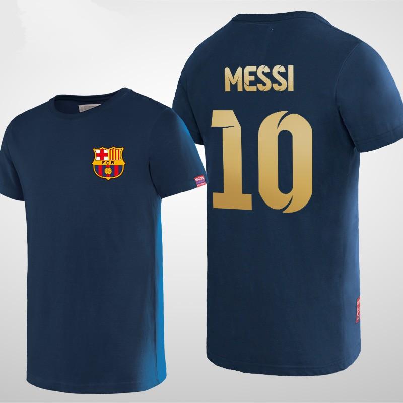 Futbol Club Barcelona Messi 10 Logo Short Sleeve T-shirts