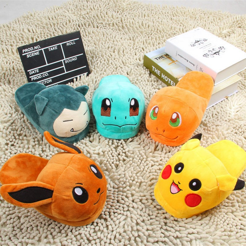 Pokemon Go Slippers Elf Ball Pikachu Eevee Umbreon Plush Shoes