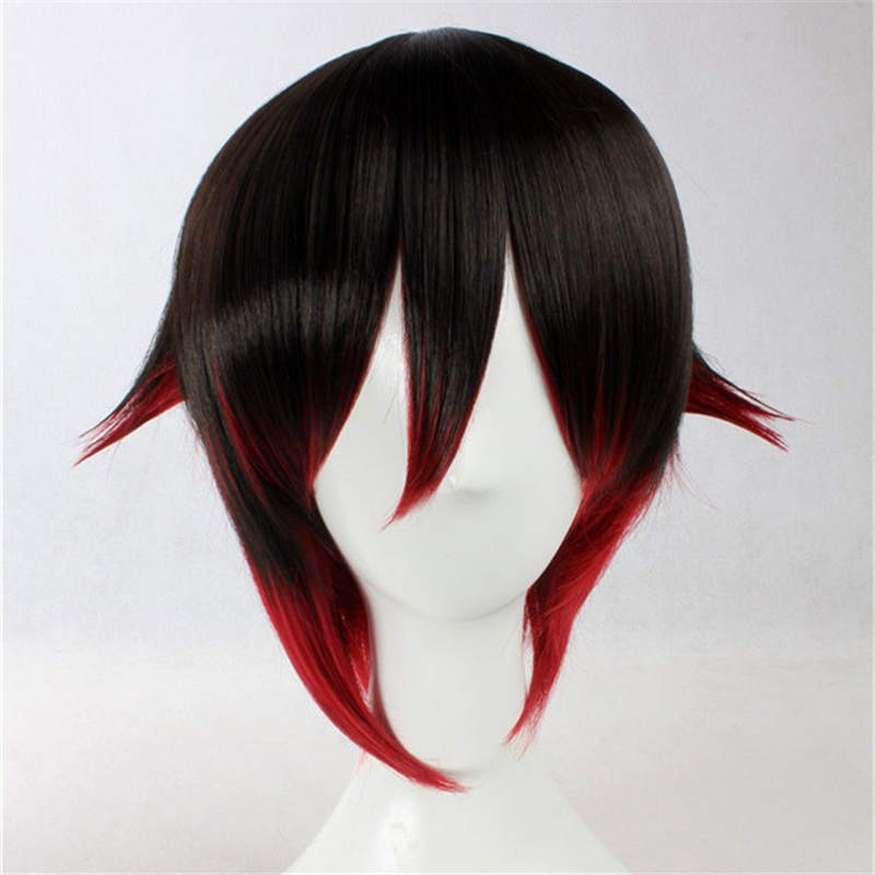 RWBY Red Trailer Ruby Flat Boots Back Gradient Cosplay Wigs