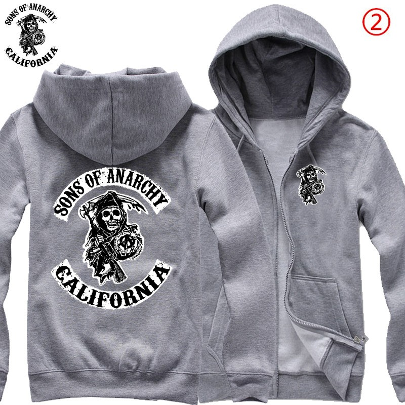 TimeCosplay SOA Sons Of Anarchy Samcro Icon Men Zipper Hoodies Sweatshirts