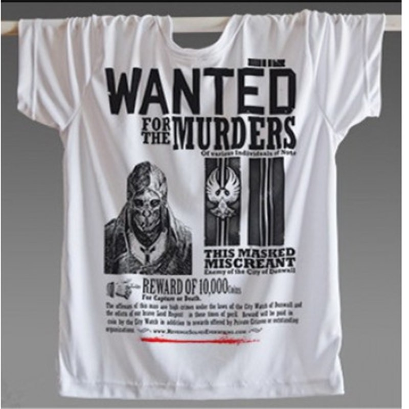 Timecosplay Dishonored Logo 3D Print Harajuku Wanted Murders Tee Shirts
