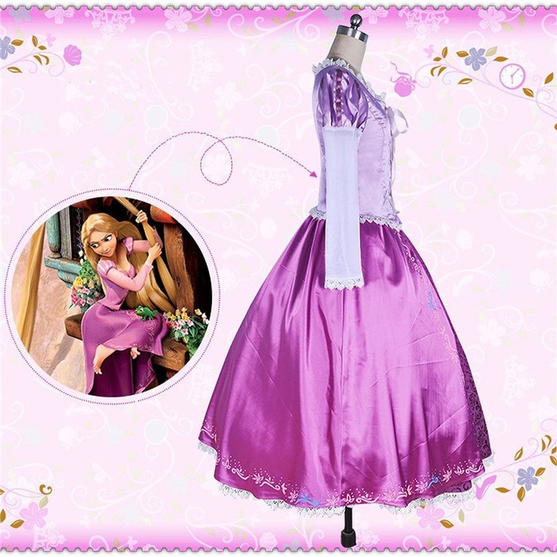 Timecosplay Disney Tangled Princess Rapunzel Adult Dress Cosplay Costume-Deluxe 1:1