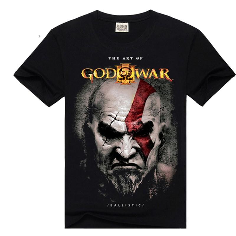 Timecosplay God Of War Kratos  Poster Men Short Sleeve Tee Shirt