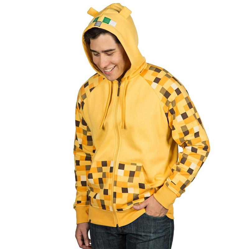 TimeCosplay Minecraft Creeper Premium Zip-Up Jacket Hoodie