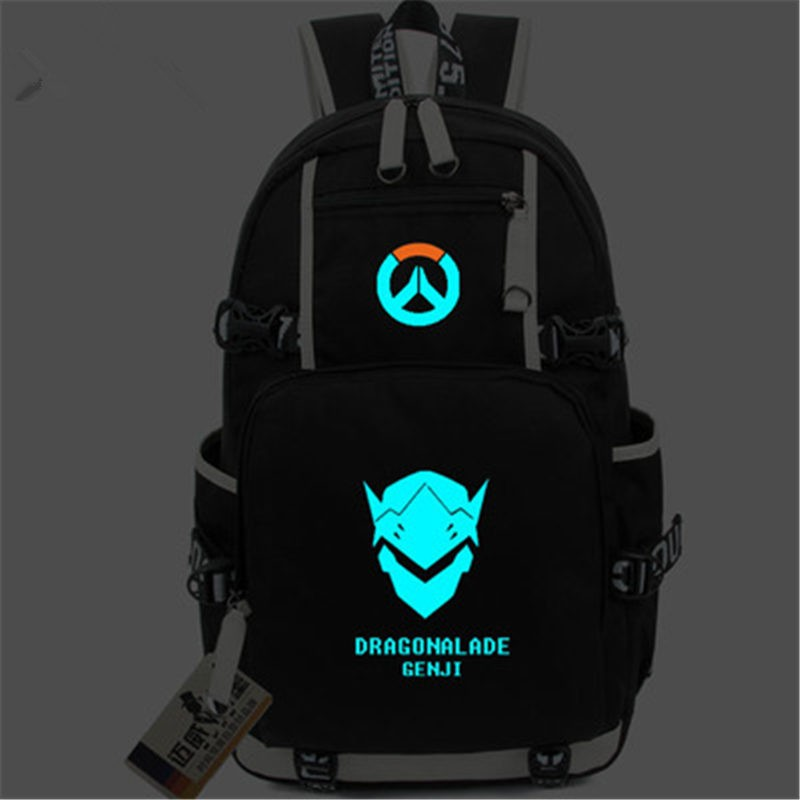 Timecosplay Overwatch Genji Icon Logo Bag Noctilucent Luminious Backpack Schoolbag