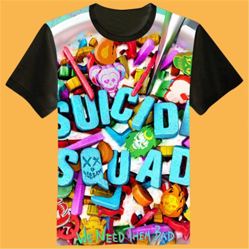 Timecosplay Suicide Squad Icon 3D Print Harajuku Tee Shirts