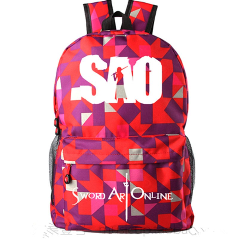 Timecosplay Sword Art Online lattice Schoolbag Backpack