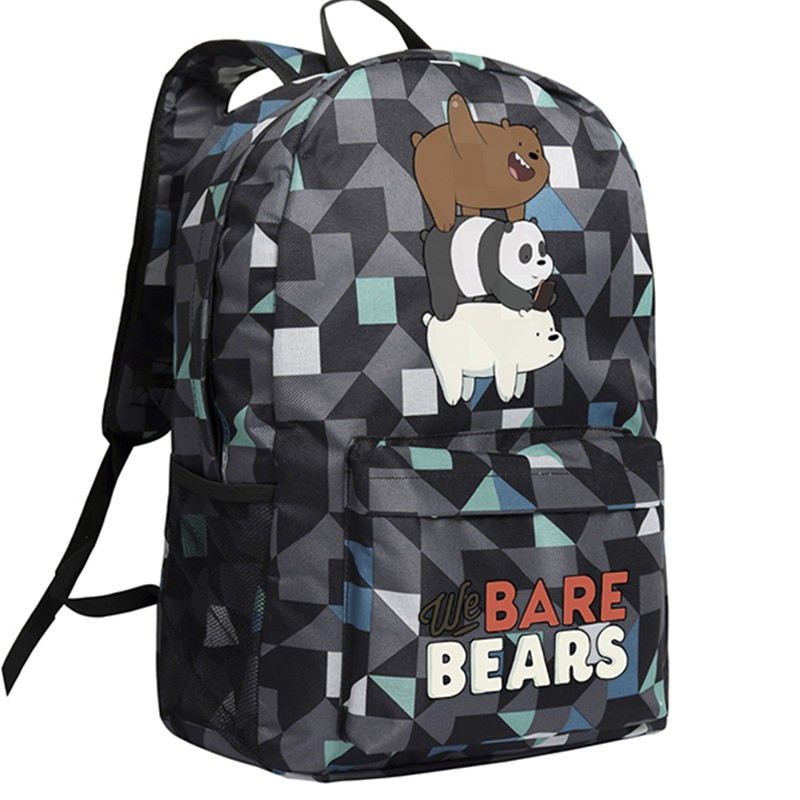 Timecosplay We Bare Bears Lattice Shoulders Bag Schoolbag Backpack