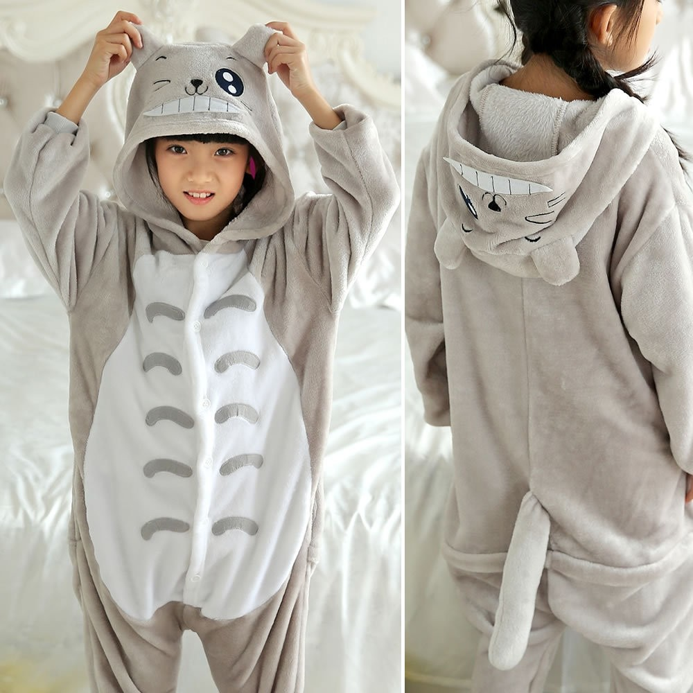 Totoro Onesies Pajamas Flannel Children Kigurumi Onesies Winter Animal Pajamas For Kids