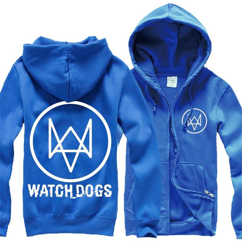 Watch Dogs Logo Men Cosplay Zipper Hoodies