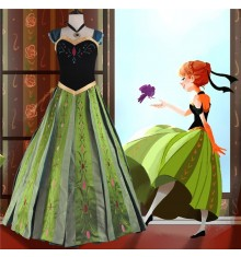 Disney Frozen Cosplay Anna Coronation Dress Costumes