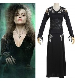 Harry Potter Cosplay Bellatrix Lestrange Black Dress Costume