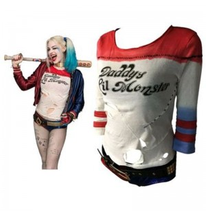 Suicide Squad Harley Quinn Arkham City Short Cosplay Tee Shirt Deluxe Verison