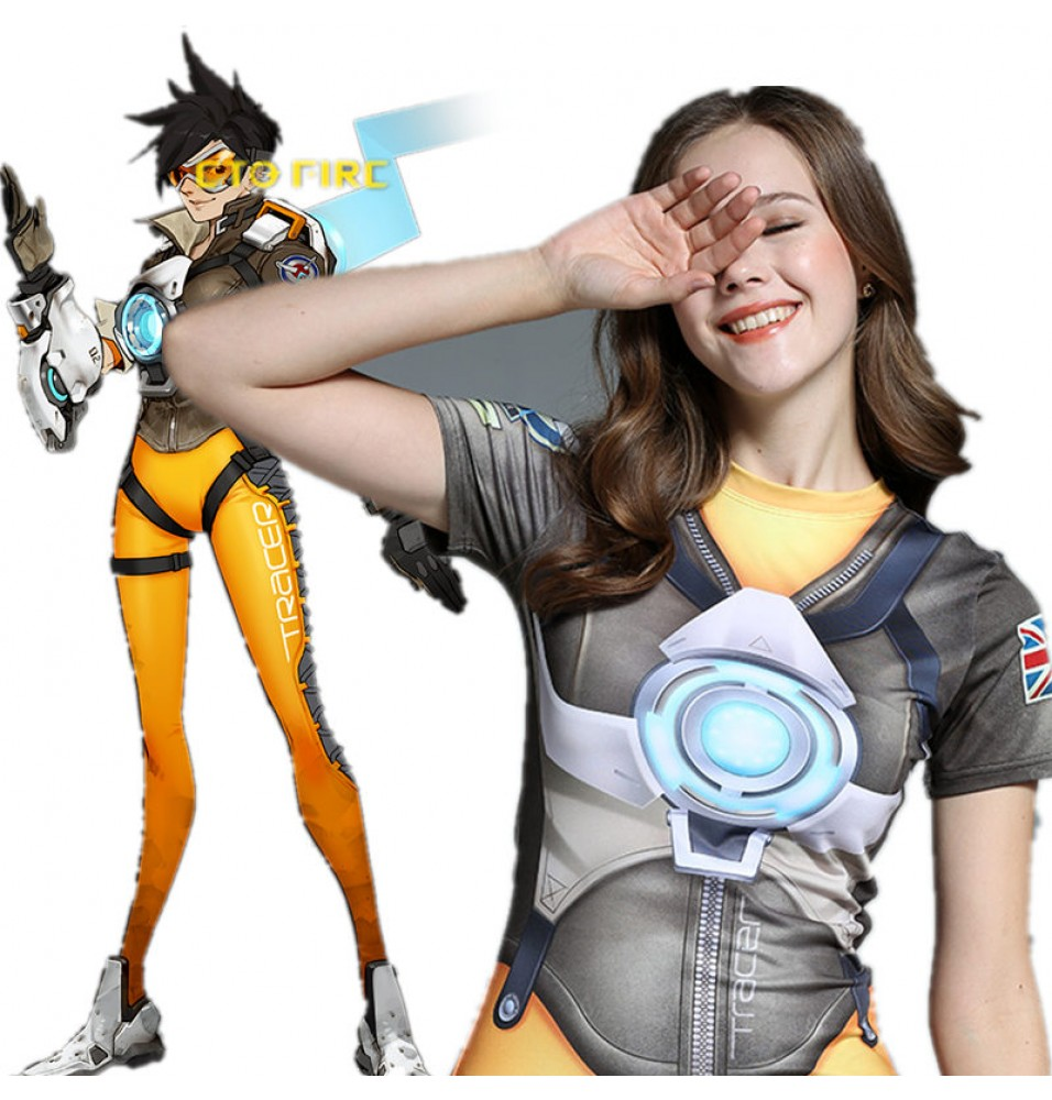 Timecosplay OW Overwatch Lena Oxton Tracer Cosplay Short sleeve Tee-shirt