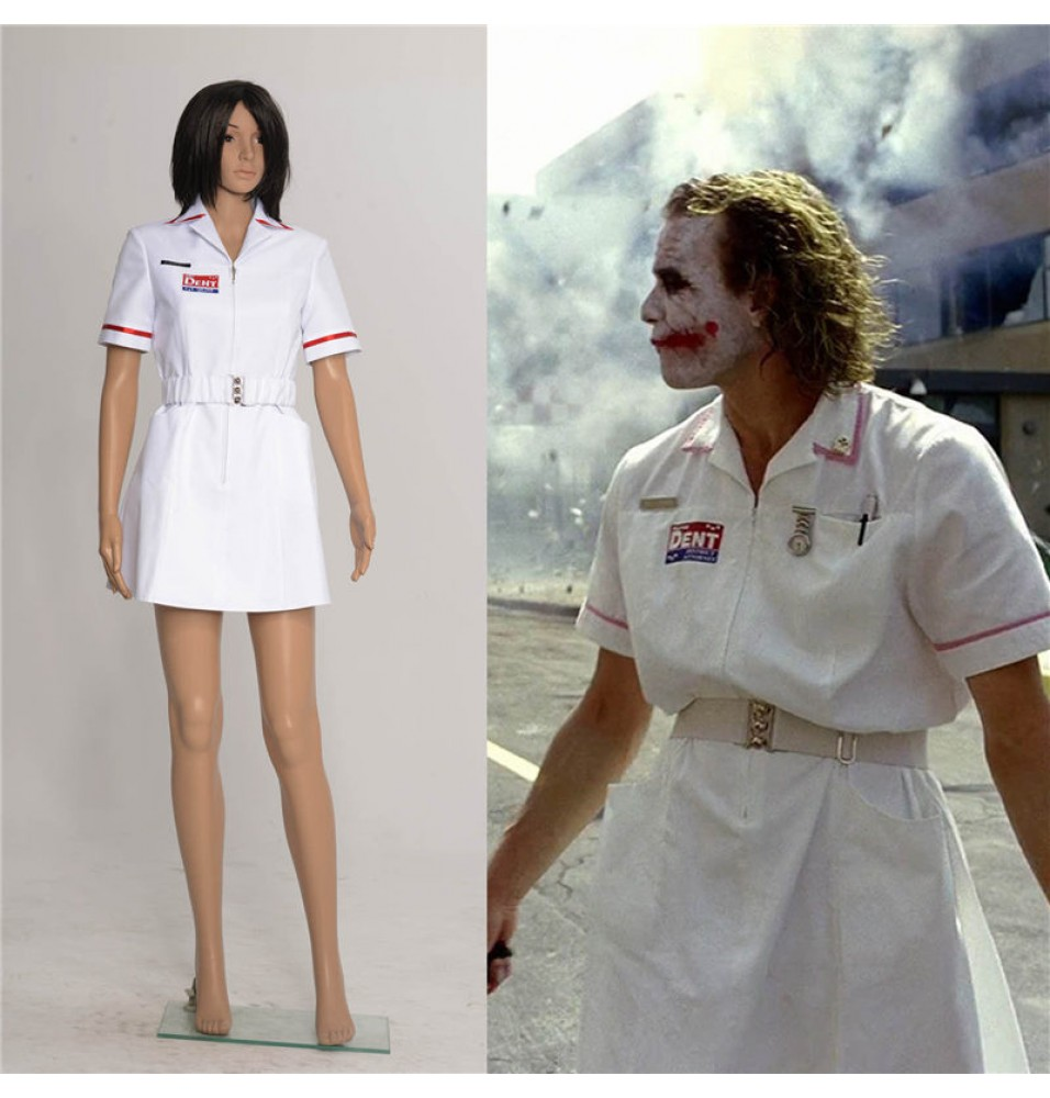 Batman Joker Cosplay Nurse White Uniform Dress Coat Halloween Costumes