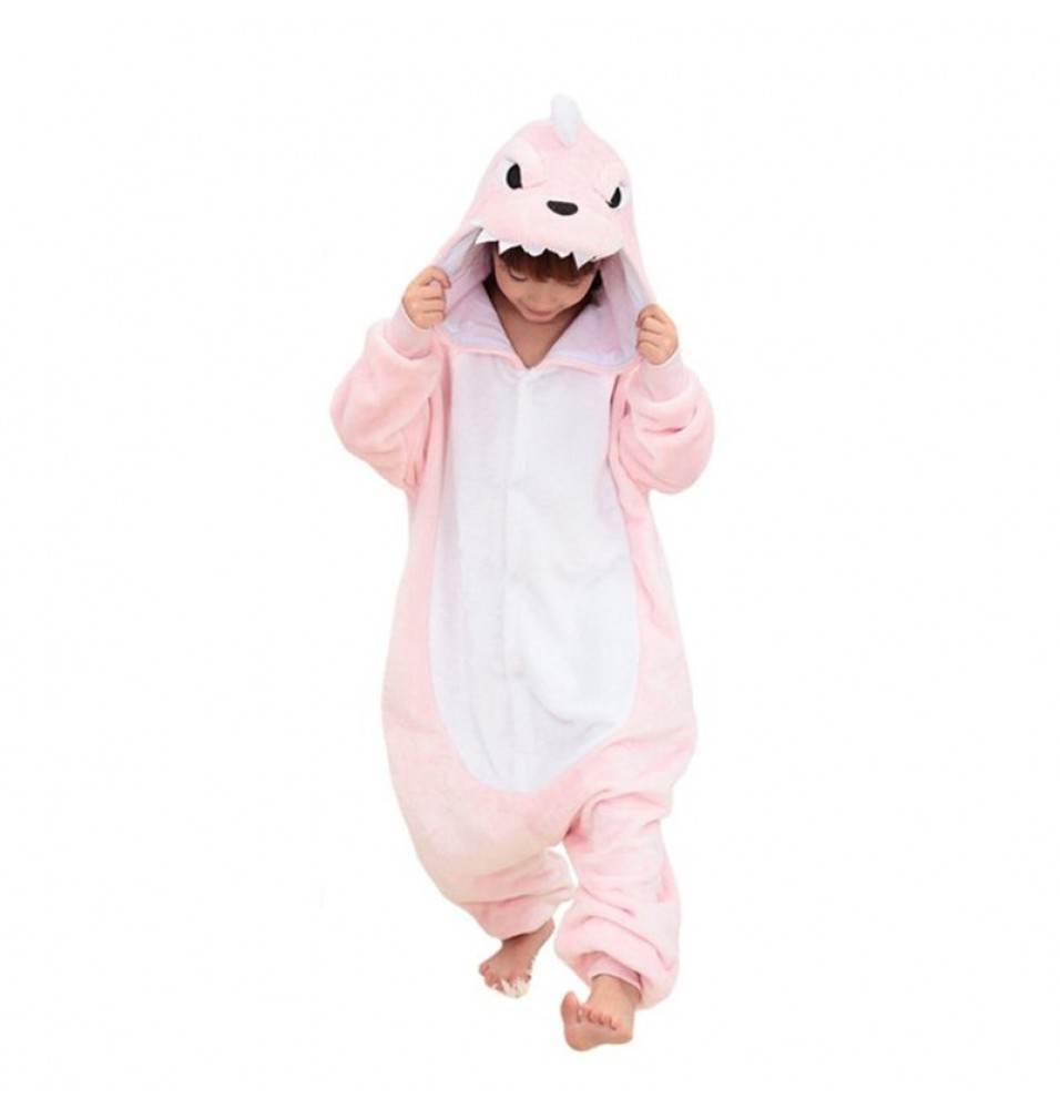 Childrens Halloween Pink Dinosaur Onesie Kigurumi Onesie Animal Pajama Cosplay For Kids