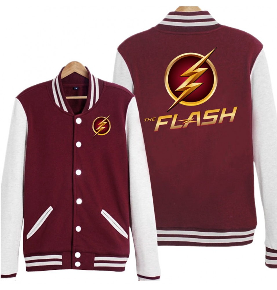 DC The Flash Logo Hoodie Baseball Jacket Overcoat