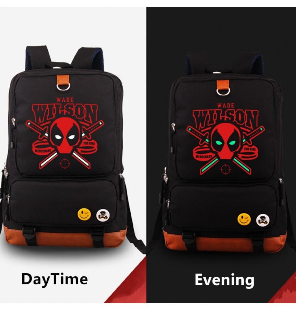 Deadpool Noctilucence Shoulde Backpack School Bag
