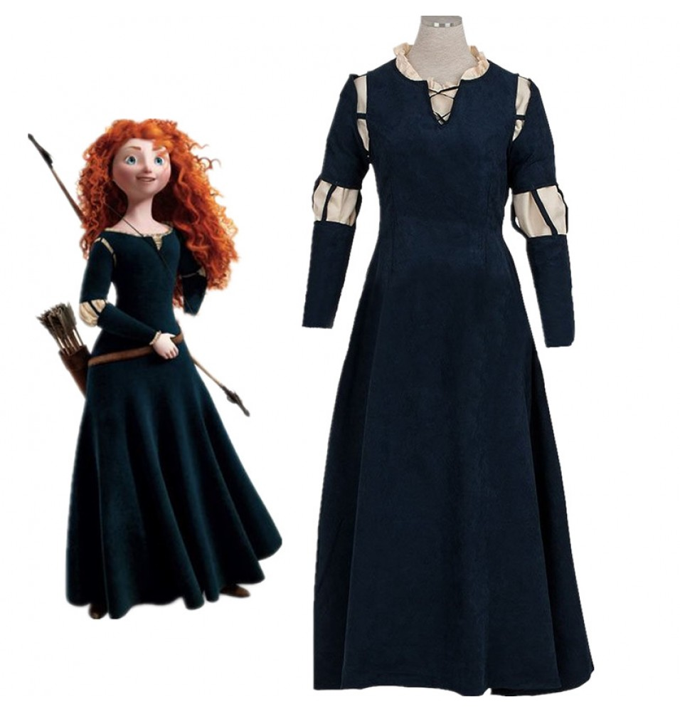 Disney Brave Princess Merida Dress Cosplay Costume Gown Outfit