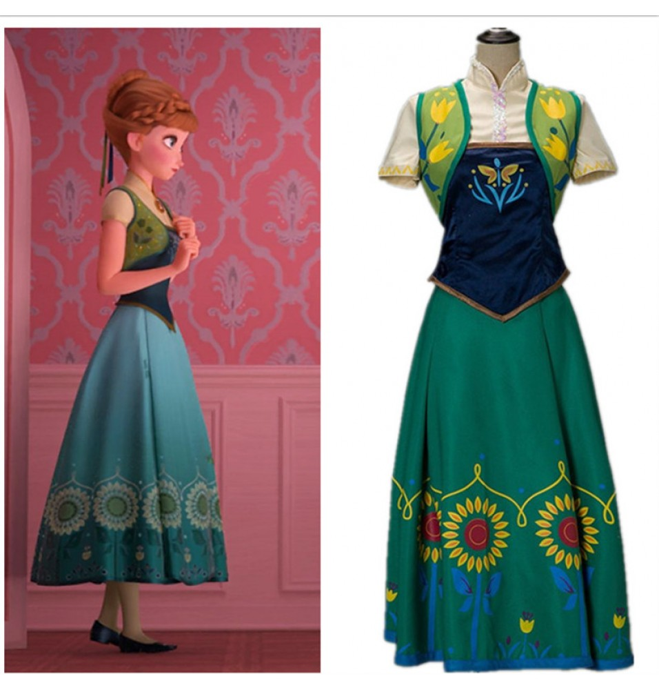 Disney Frozen Fever Anna Dress Cosplay Costume