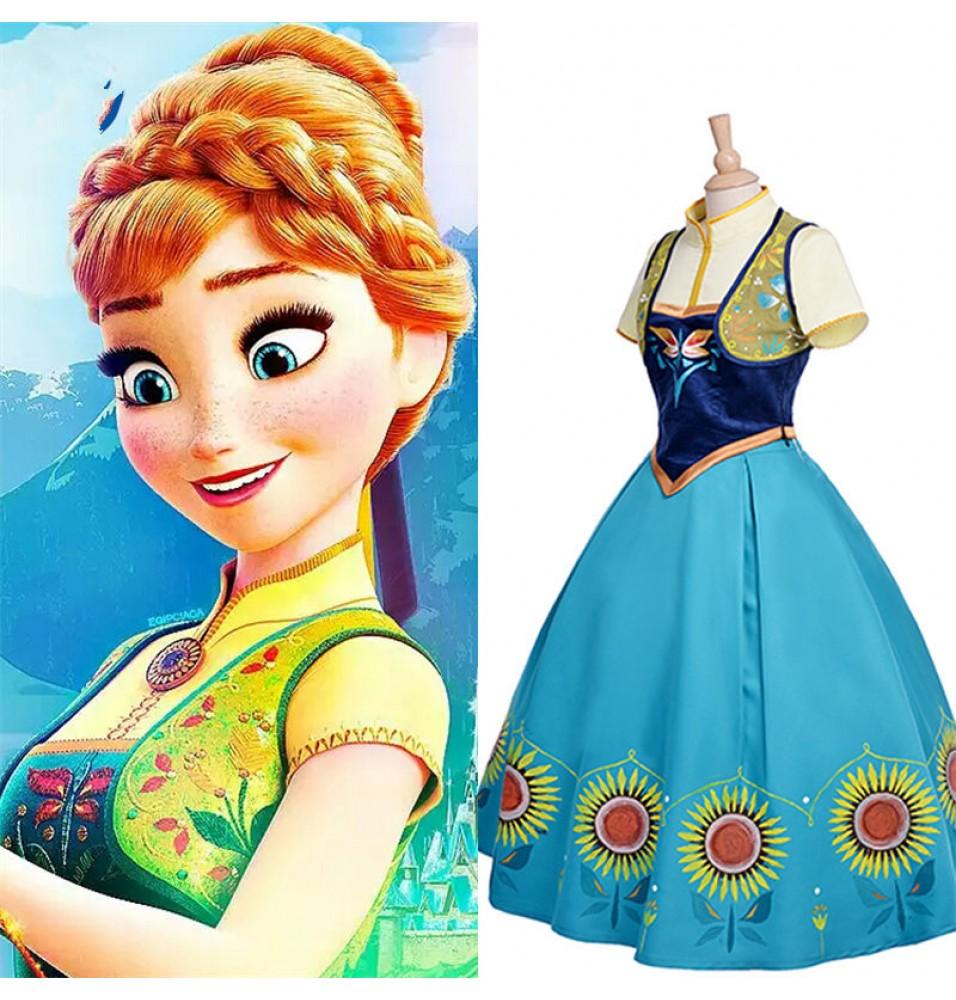 Disney Frozen Fever Anna Dress Cosplay Halloween Costume-Deluxe Edition