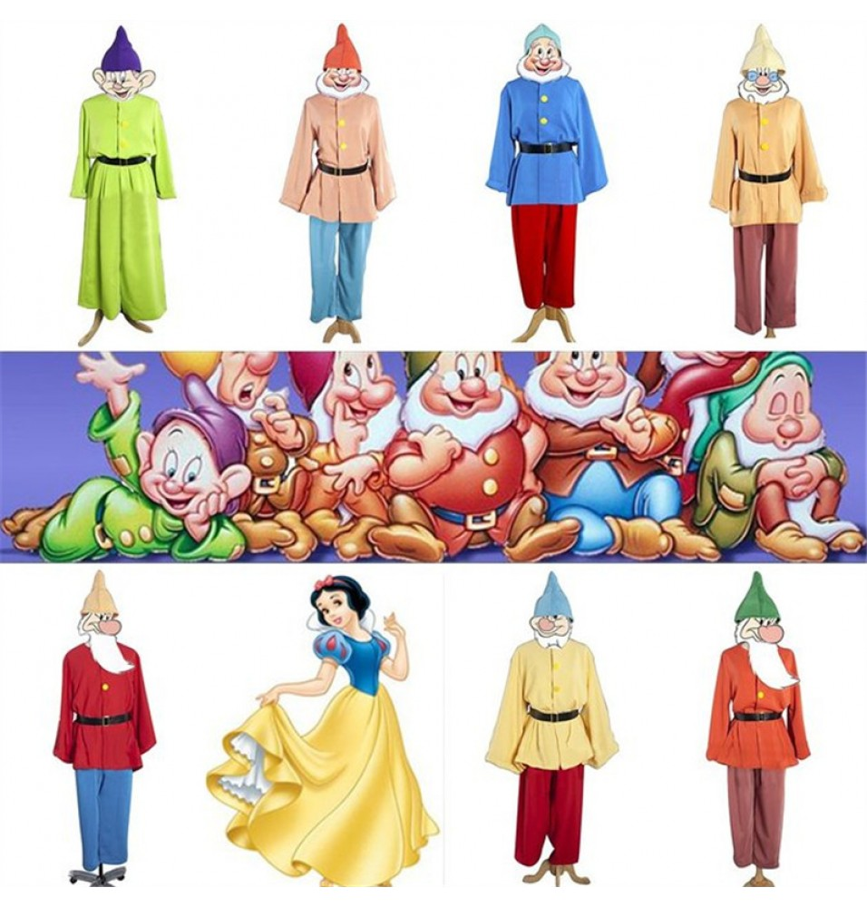 Disney Movie Snow White 7 Seven Dwarfs Party Costumes Cosplay