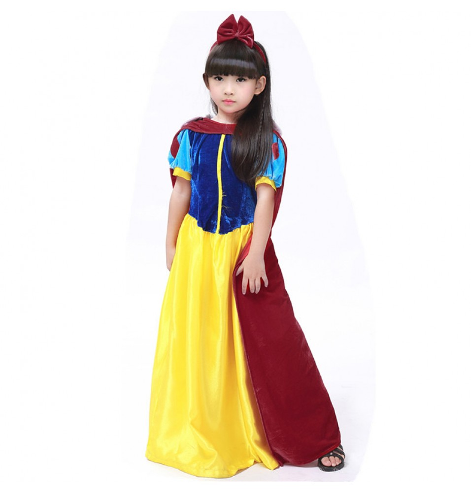 Disney Storybook Snow White Princess Girls Dress Costume Cosplay For Kids-Deluxe Ver