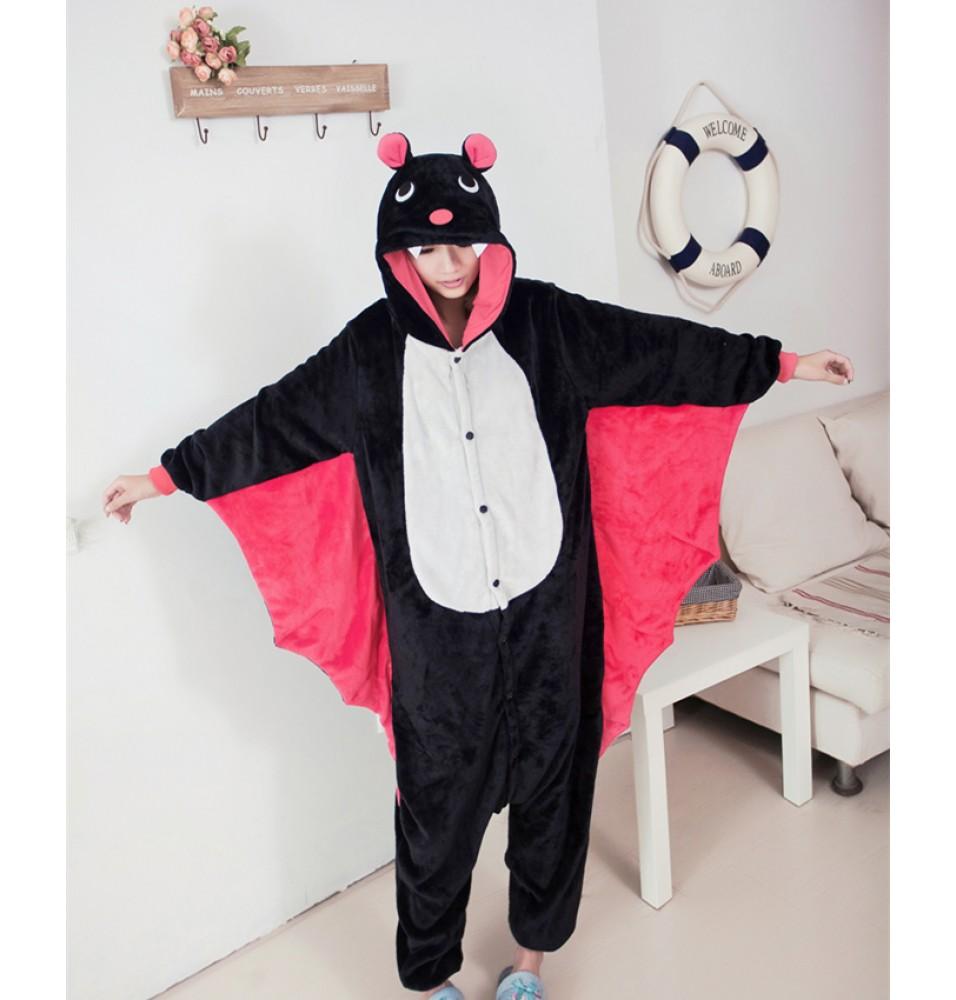 Bat Onesies Pajamas Unisex Flannel Kigurumi Onesies Winter Animal Pajamas For Adults