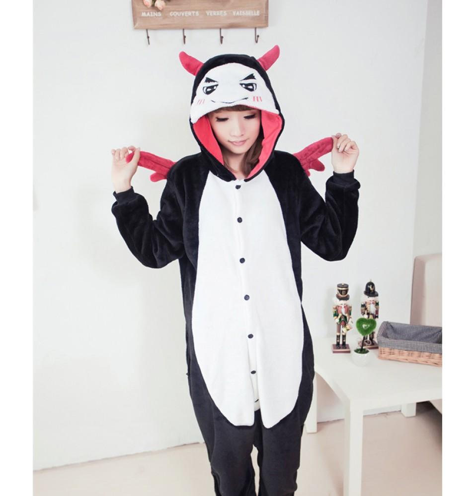 Cute Angel Demon Onesies Pajamas Unisex Flannel Kigurumi Onesies Winter Animal Pajamas For Adults