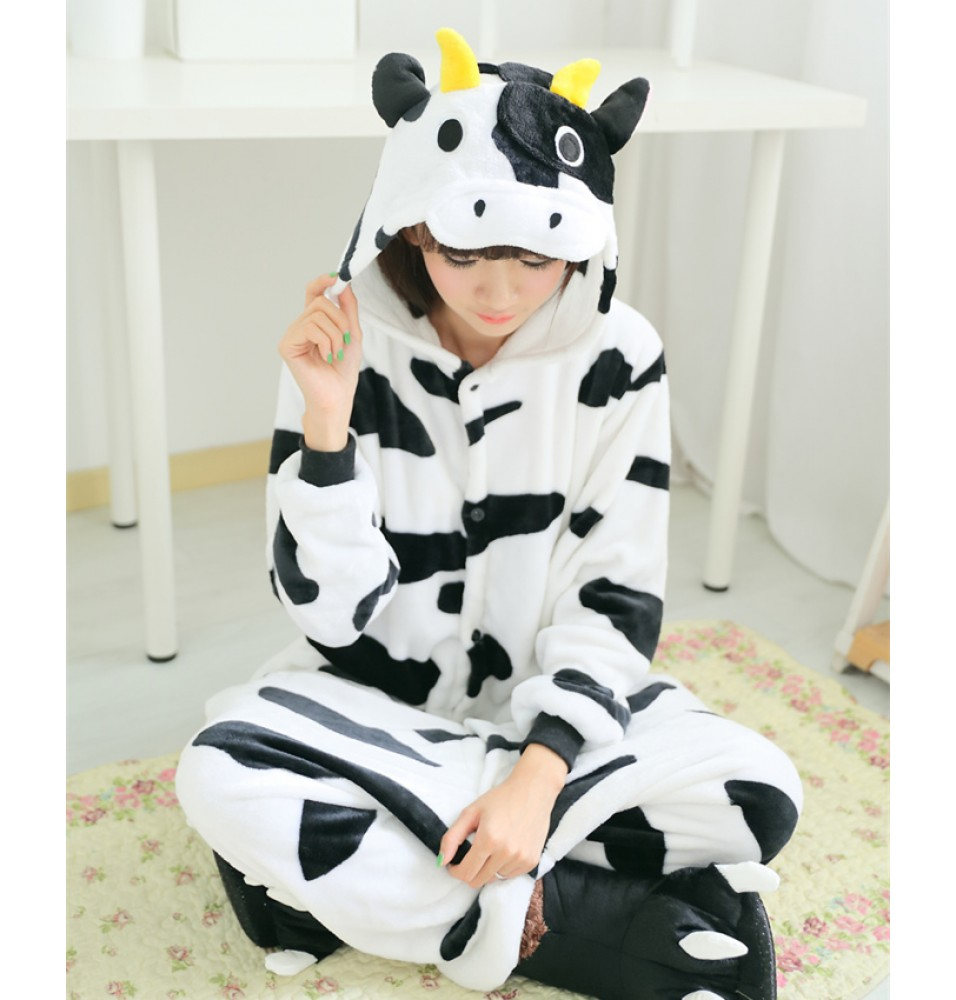 Dairy Cow Onesies Pajamas Unisex Flannel Kigurumi Onesies Winter Animal Pajamas For Adults