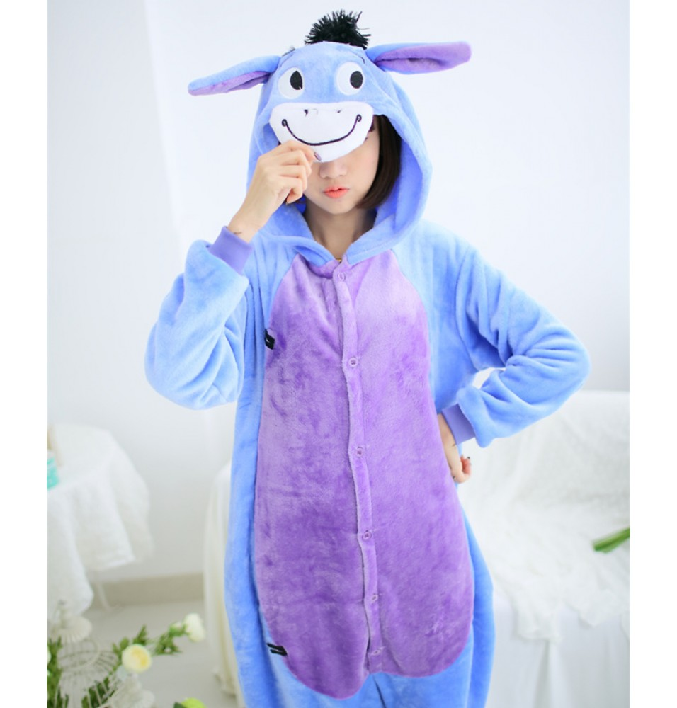 Donkey Onesies Pajamas Unisex Flannel Kigurumi Onesies Winter Animal Pajamas For Adults
