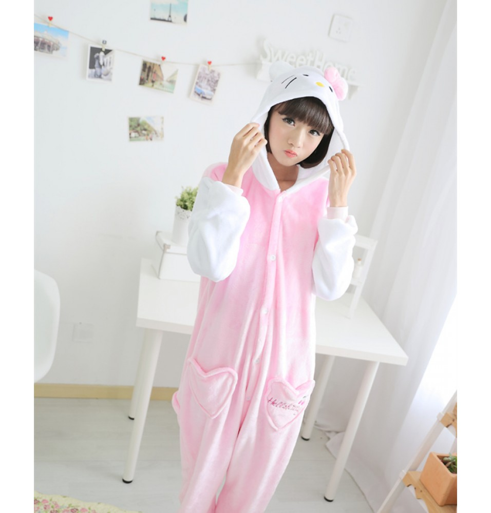 Hello Kitty Onesies Pajamas Unisex Flannel Kigurumi Onesies Winter Animal Pajamas For Adults