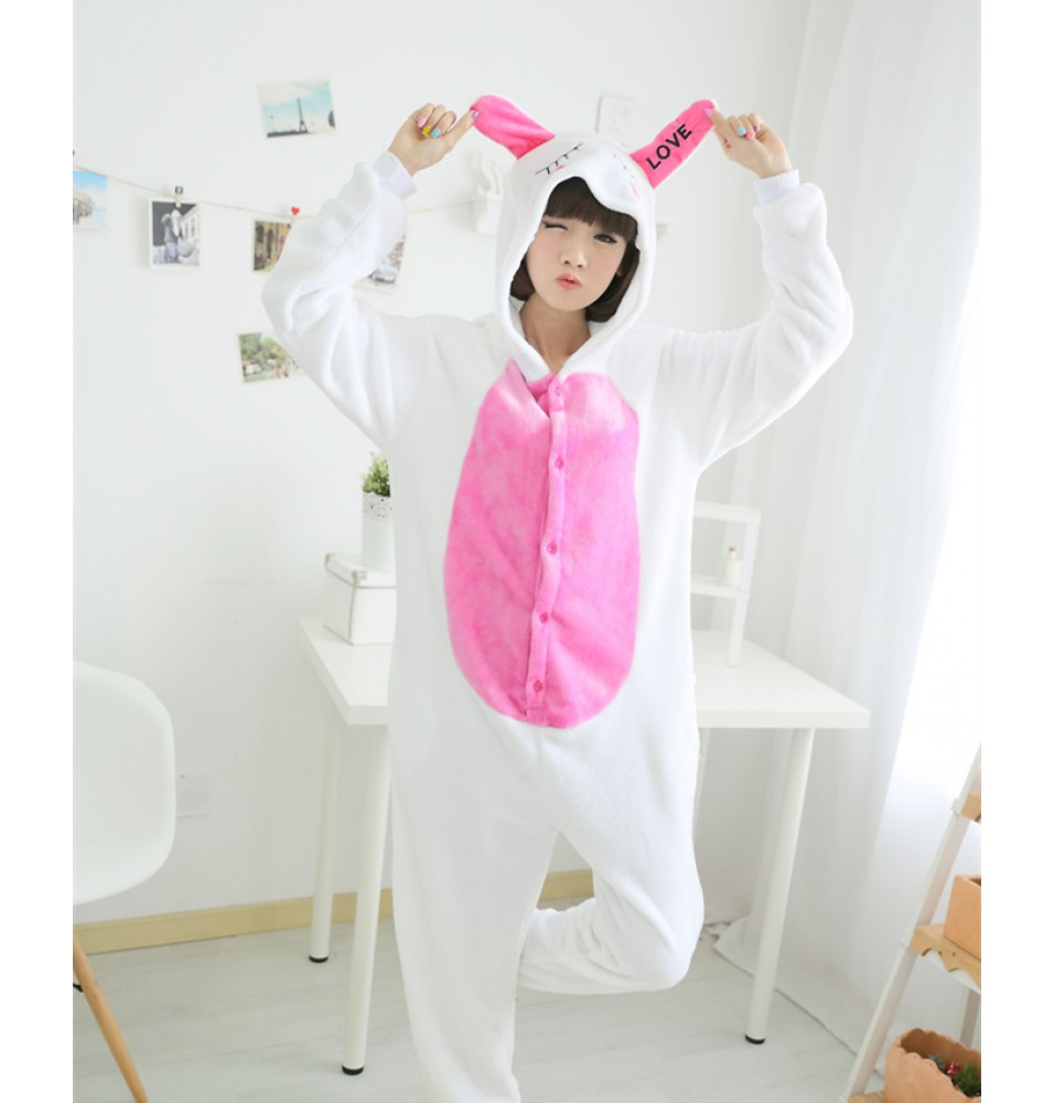 Love Rabbit Onesies Pajamas Unisex Flannel Kigurumi Onesies Winter Animal Pajamas For Adults