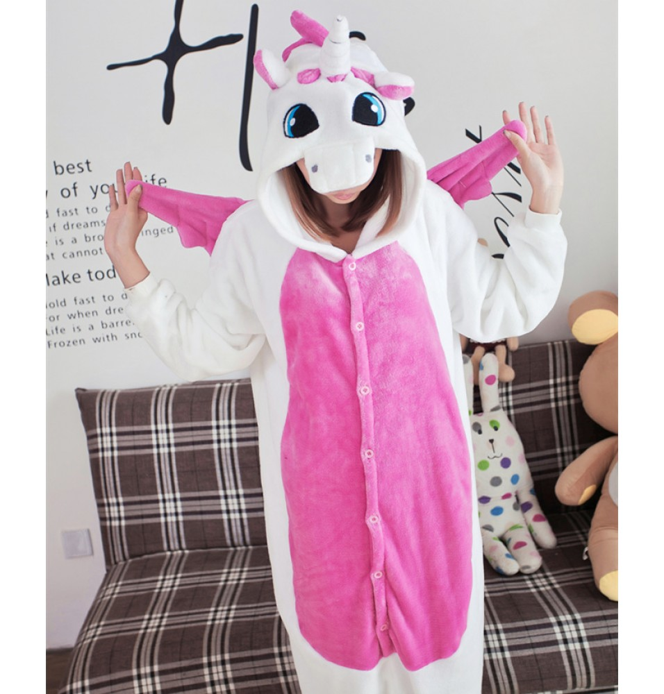 Unicorn Onesies Pajamas Unisex Flannel Kigurumi Onesies Winter Animal Pajamas For Adults