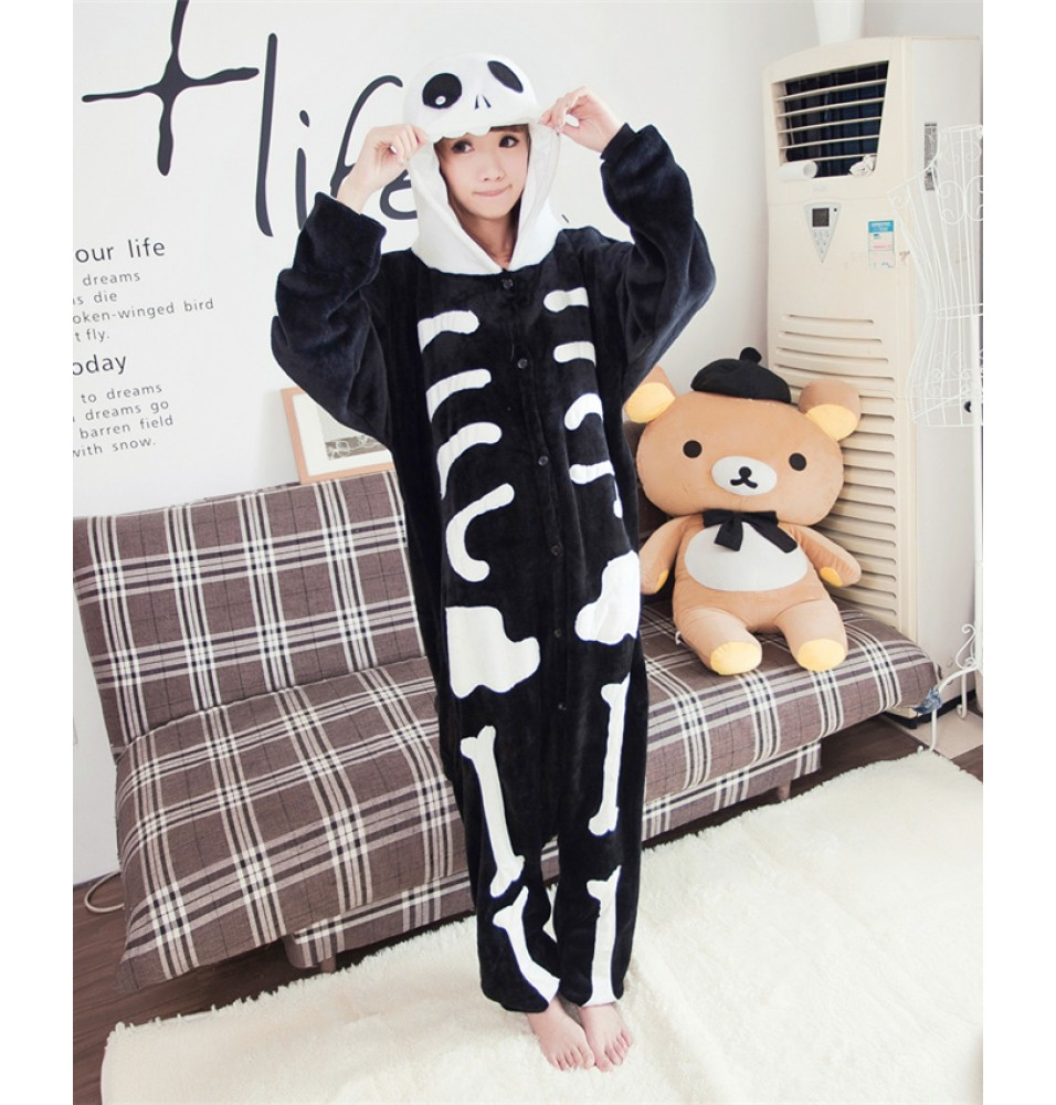Skull Skeleton Onesies Pajamas Unisex Flannel Kigurumi Onesies Winter Animal Pajamas For Adults