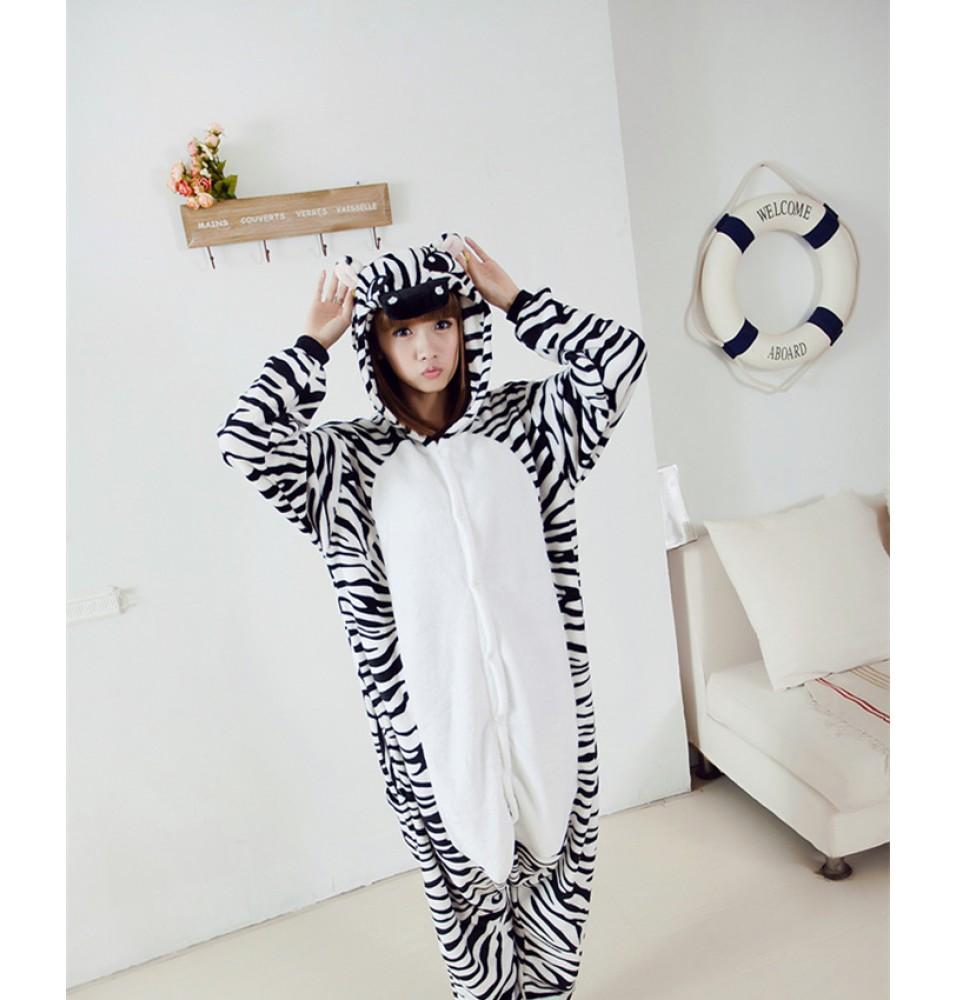 Zebra Onesies Pajamas Unisex Flannel Kigurumi Onesies Winter Animal Pajamas For Adults