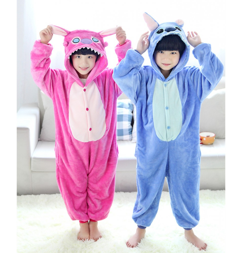 Stitch Onesies Pajamas Flannel Children Kigurumi Onesies Winter Animal Pajamas For Kids