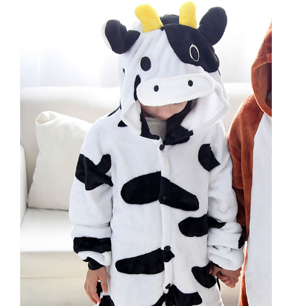 Dairy Cow Pajamas Flannel Children Kigurumi Onesies Winter Animal Pajamas For Kids