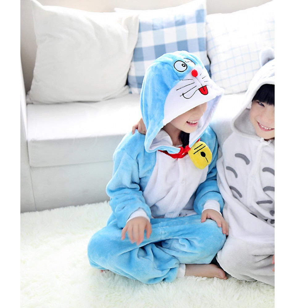 Doraemon Onesies Pajamas Flannel Children Kigurumi Onesies Winter Animal Pajamas For Kids