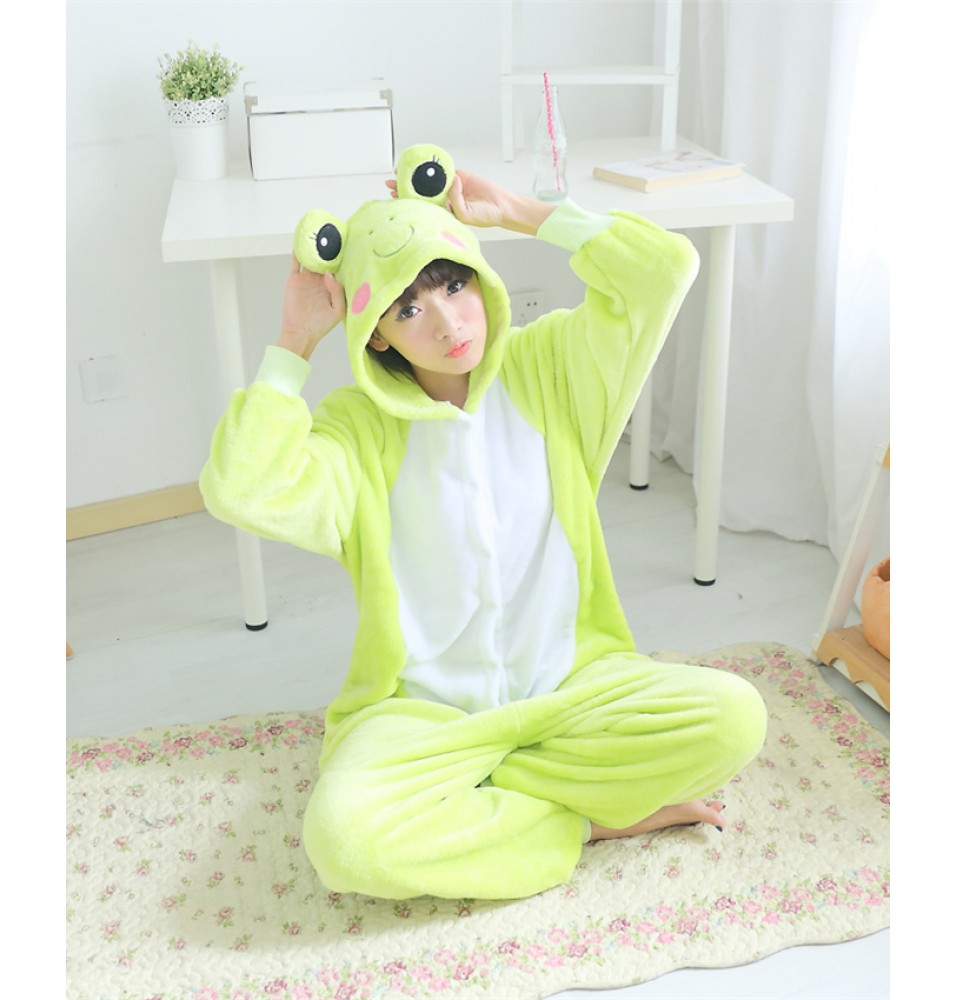 Frog Onesies Pajamas Unisex Flannel Kigurumi Onesies Winter Animal Pajamas For Adults