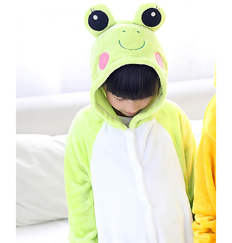 Frog Onesies Pajamas Flannel Children Kigurumi Onesies Winter Animal Pajamas For Kids