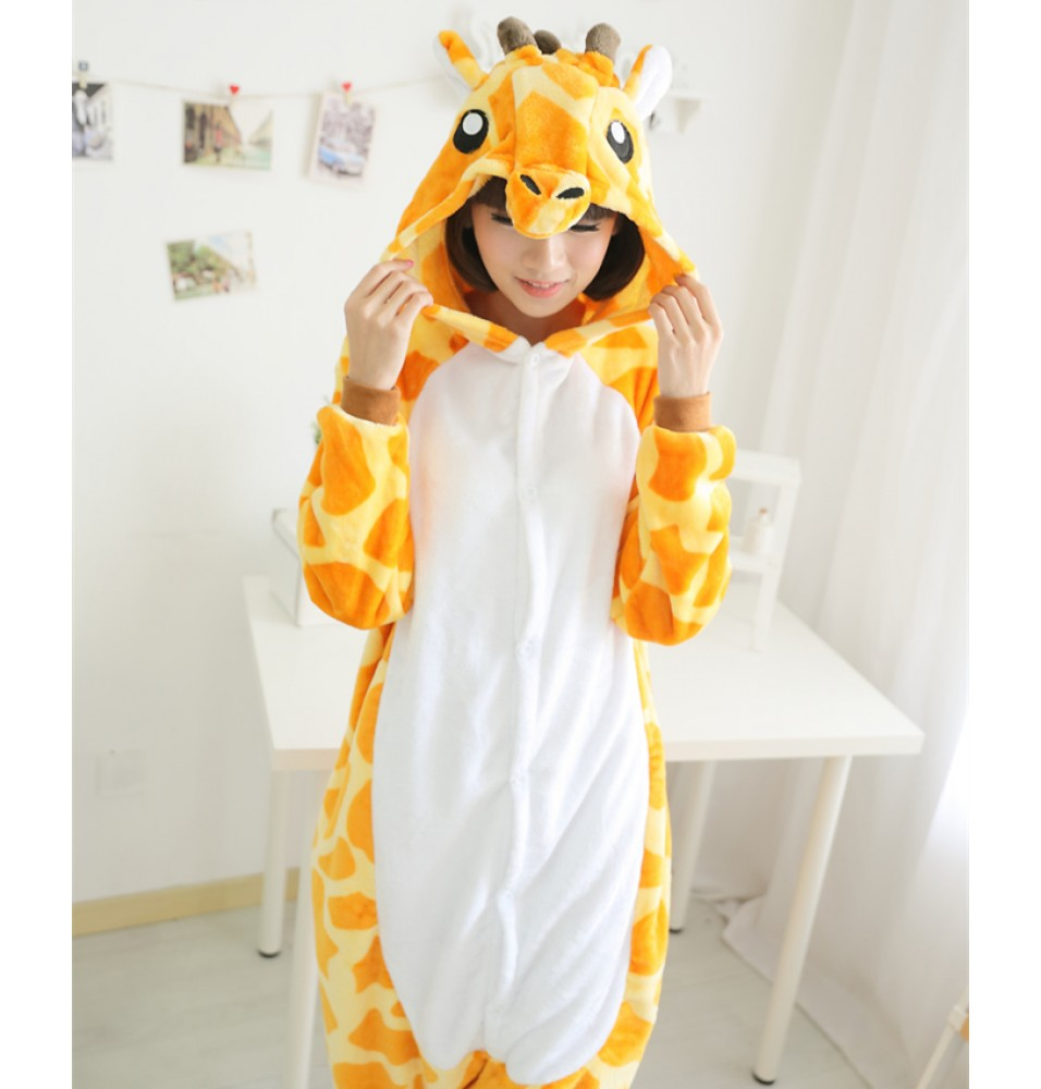 Giraffe Onesies Pajamas Unisex Flannel Kigurumi Onesies Winter Animal Pajamas For Adults
